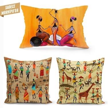 Real Homes African Serisi Kare ve Dikdörtgen 3'lü Kırlent Kılıfı Seti Renkli